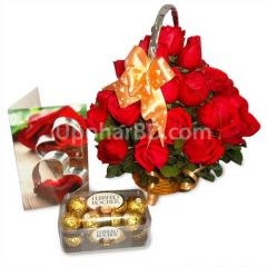Ferrero Rocher chocolate with red roses
