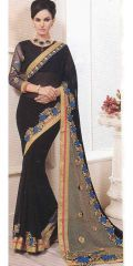 Pure black color georgette by Kalista Fashions