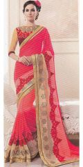 Hot come lite pink color georgette by Kalista Fashions