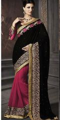 Pink Faux Georgette Border Work by Kalista Fashions