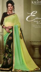 Black green yellow mix color georgette by Kalista Fashions