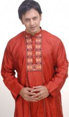 Silk Panjabi in red colour