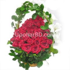 Basket with 40 red roses