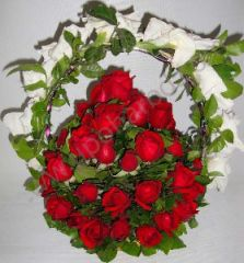 Basket with 50 red roses