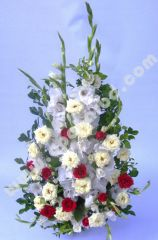 Arrangement of mix colour roses