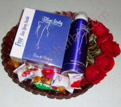 Chocolate and blue lady package