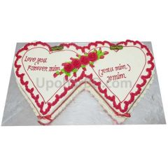 Duel heart cake for engagement, anniversary or any party