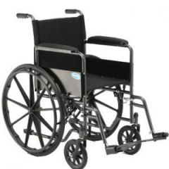 Wheelchair with permanent arms and footrests