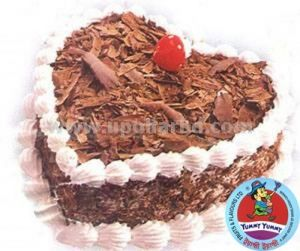 Heart shape with blackforest and cherry