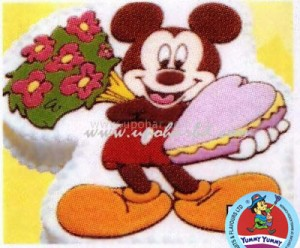 Mickey mouse with flower and greetings