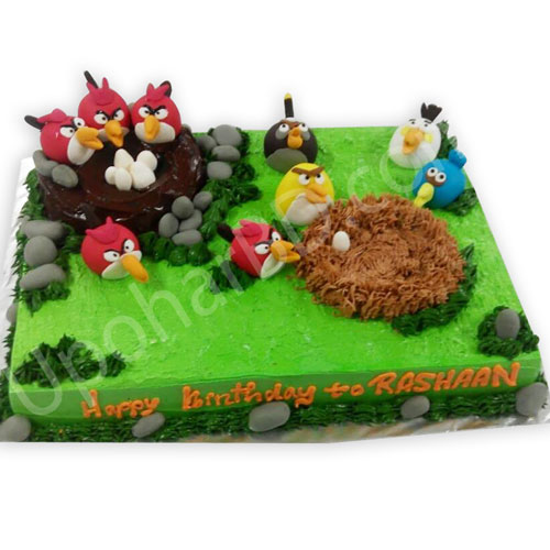 Angry birds nest cake