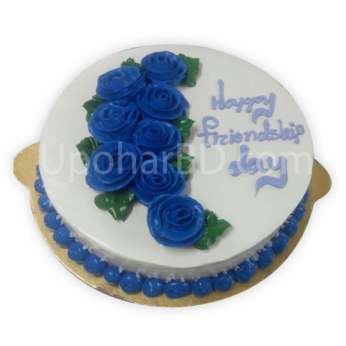 Round shape blue roses on top