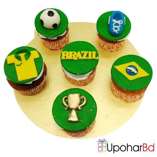 6 Special Brazil Designed FIFA Cupcake