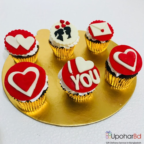I love you cupcake gift box with red icing