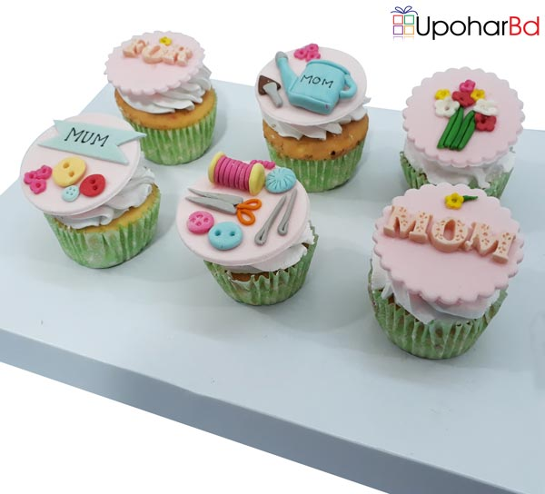 Gift box for Mom with 6 cupcake