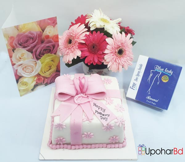 Mother's day special gift with pink fondant cake and blue lady perfume