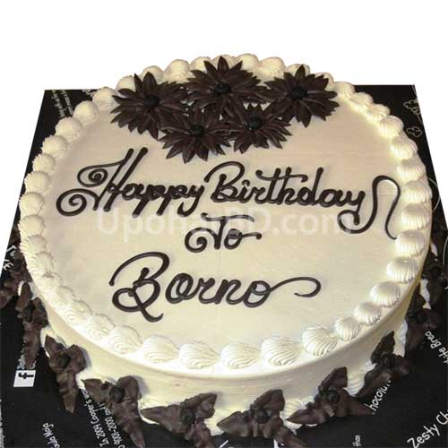 Online Cake Ordering Cake With Chocolate Flowers Round Shape