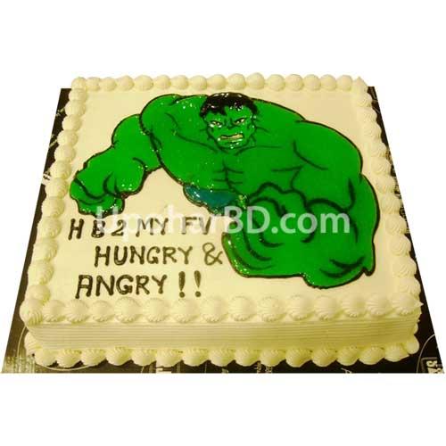 Birthday cake by Coopers cartoon design cake Hulk on a cake