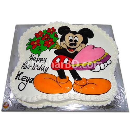 Birthday cake home delivery in BD Mickey with love greetings