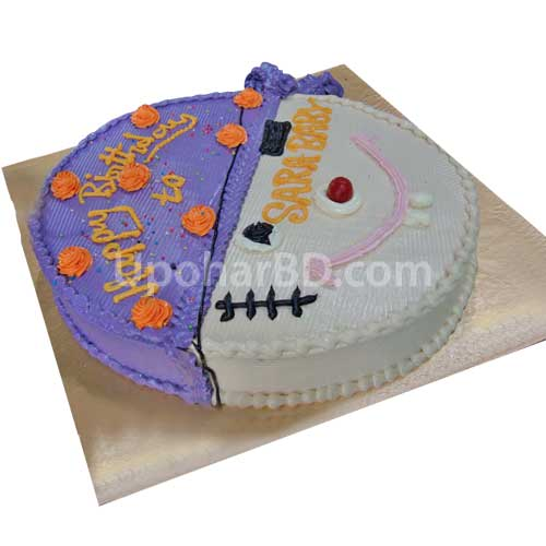 White and purple coloured creamy cake