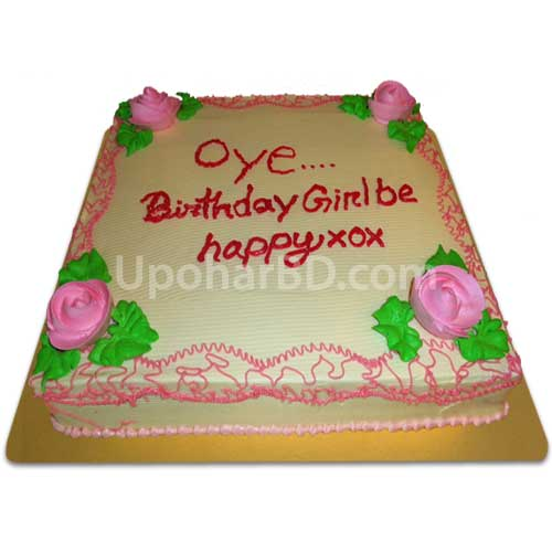Square shaped cake with pink roses