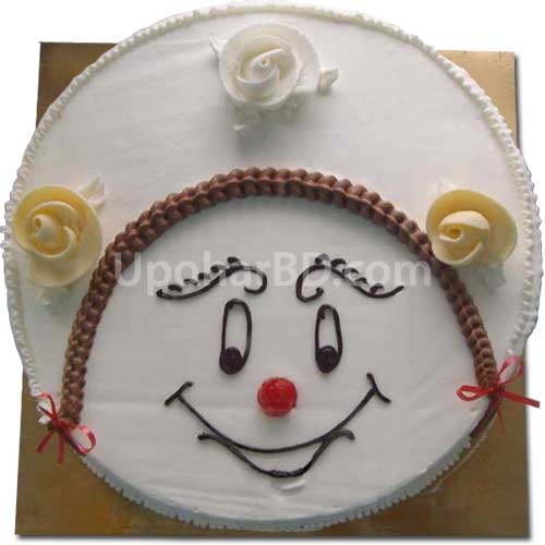 Smiley face cake with roses