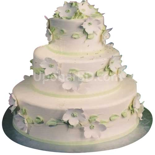 Three Layer White Flower Cake