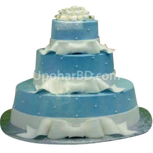 Elegant Blue cake with white Bow