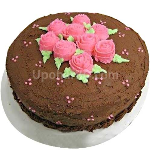 Chocolate Mud with Pink Flower