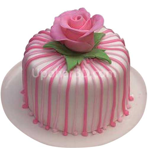 Pink Flower Stripes Cake