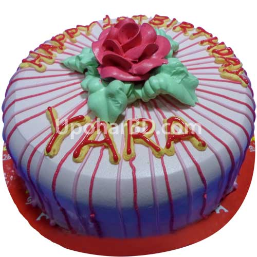 Red Flower Stripe Cake