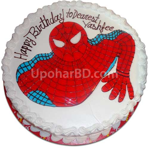 Spider man shaped cake