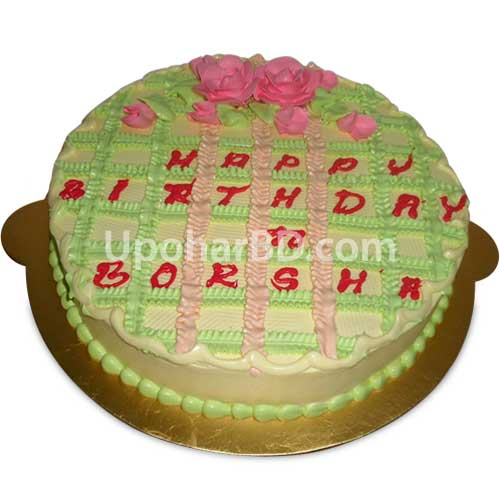 Cake with stripes and rose