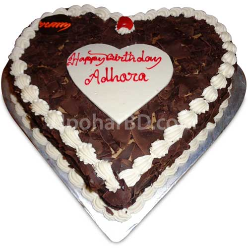Heart shape cake with blackforest flavour