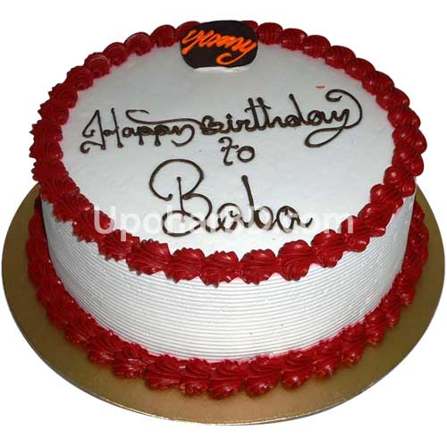 Cake with dark red design