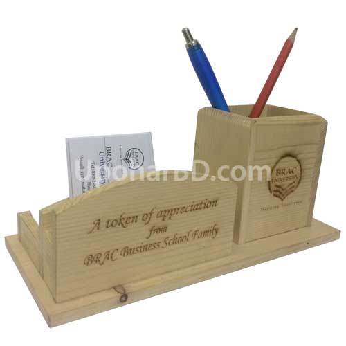 Wooden Pen and Card Holder