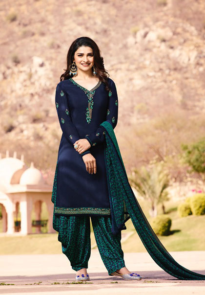 Exclusive Demin Blue color beautiful salwar suit from Vinay Collection