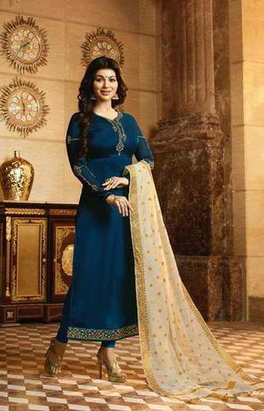 Gorgeous navy blue suit with katan designed golden dupatta from Fiona fashion