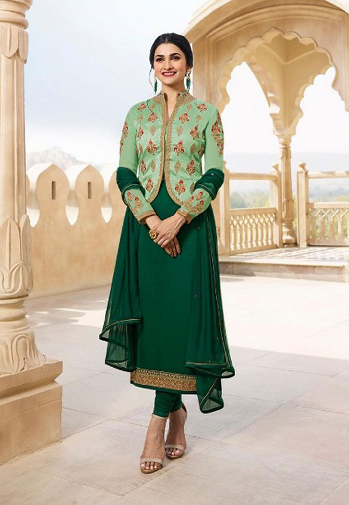 Bottle green salwar kameez