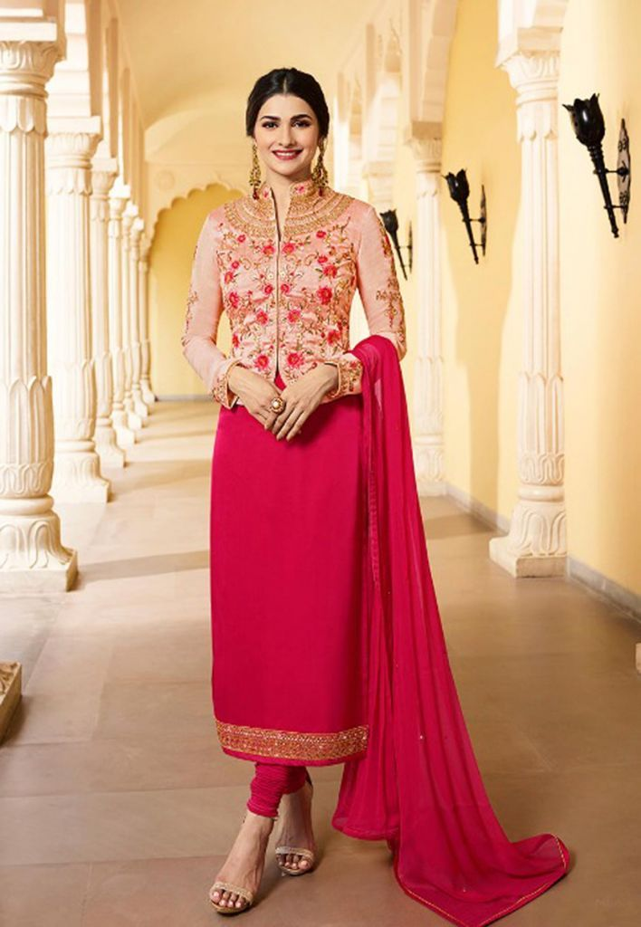 Hot pink party salwar suit
