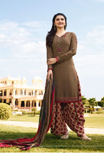 All time demandable Medium Bronze color floral Slawar suit from Vinay Collection