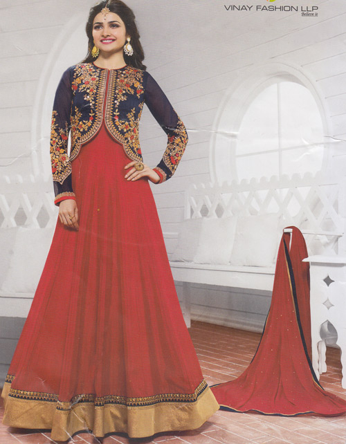 Vinay Prachi Red color heavy embroidery floor touch suit