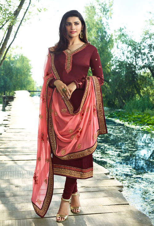 Maroon red color salwar suits