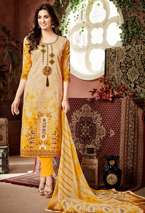 Mixed yellow shades cotton suit