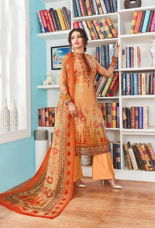 Sandy brown georgette suit
