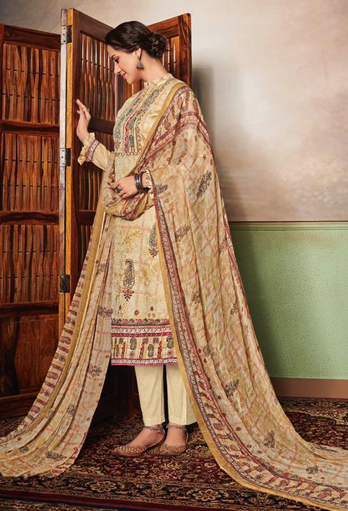 Khaki Color Lawn for Her