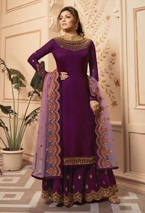 Purple Designer Sharara Suit