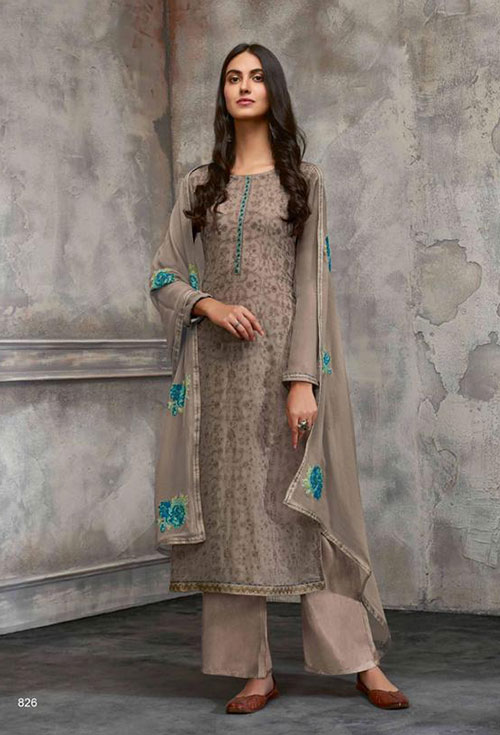 Coffee Color Georgette Party Suit