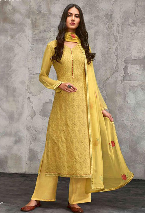 Mastard Yellow Georgette Party Suit