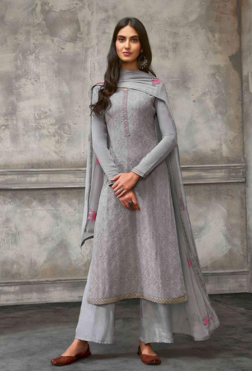Grey Color Georgette Party Suit